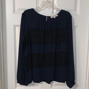 LOFT Navy Blue &Black Lace Blouse